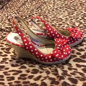 american eagle Shoes - Pinup Red Polkadot Wedges